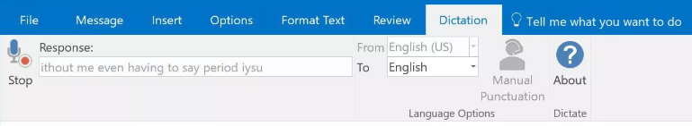 Dictation in outlook