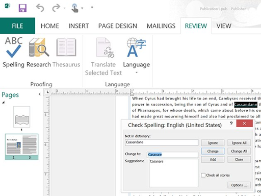 How to use Spell Check in Publisher