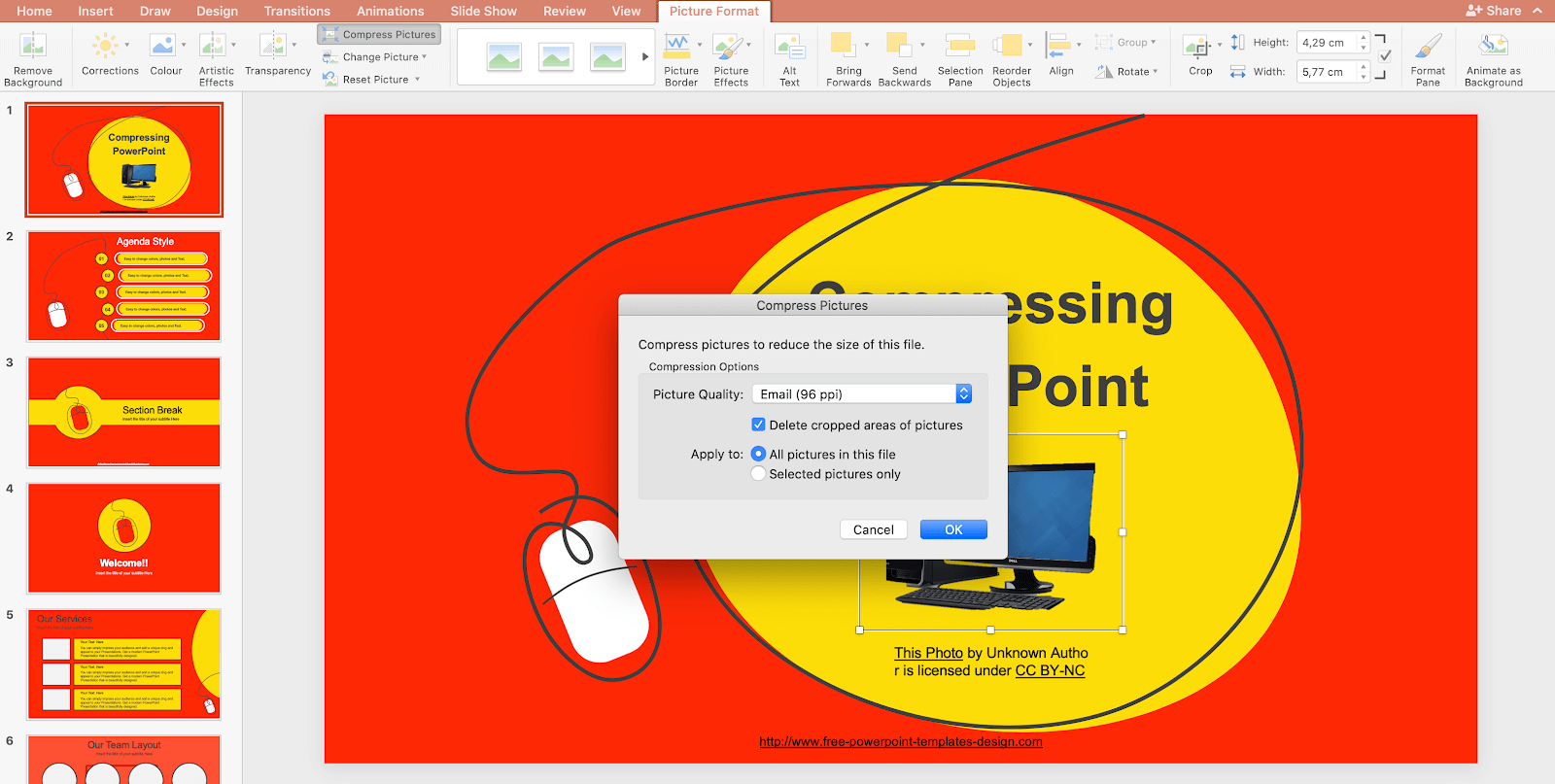 how to reduce file size in powerpoint