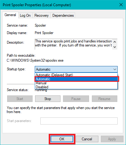 Check if Startup type is set to Automatic