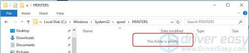 Delete all the files in the PRINTERS folder