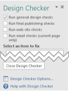 design checker task pane