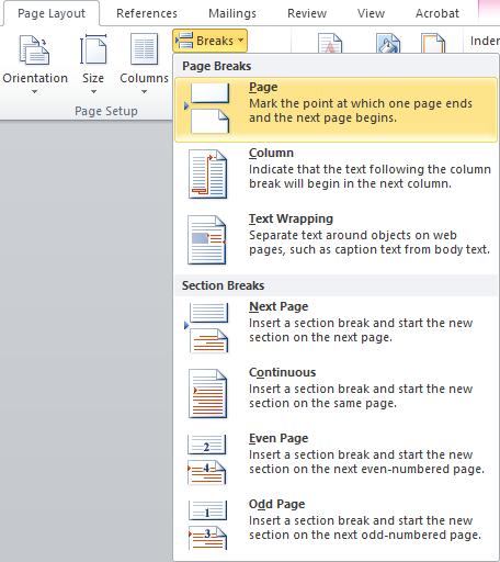 insert or delete a page break in Word