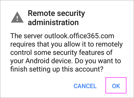 Using Office 365 to set up email on android app