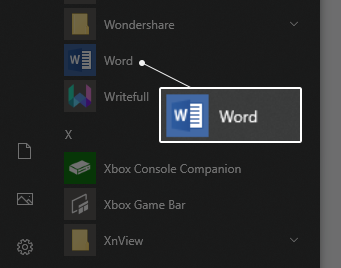 How to start word document on windows