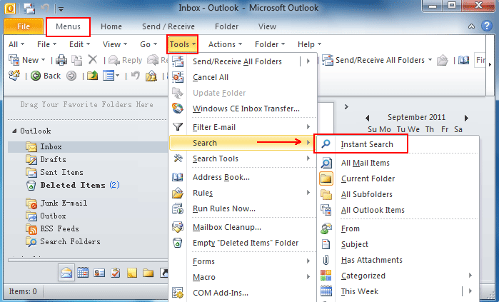 Searching for items in outlook