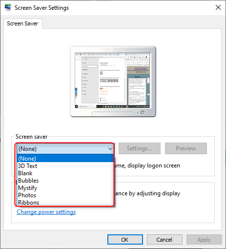 screensaver settings