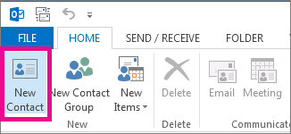Adding a new contact on outlook 2016