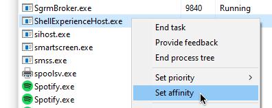 set values to affinity