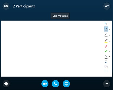 How to use whiteboard for presentation on skype