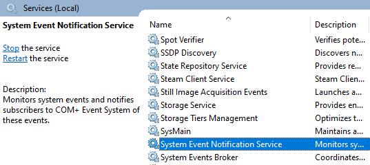 System Event Notification Service.