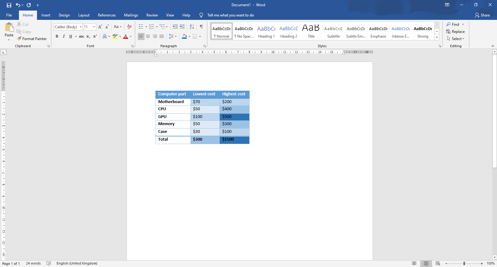 How to add and customize a table in word