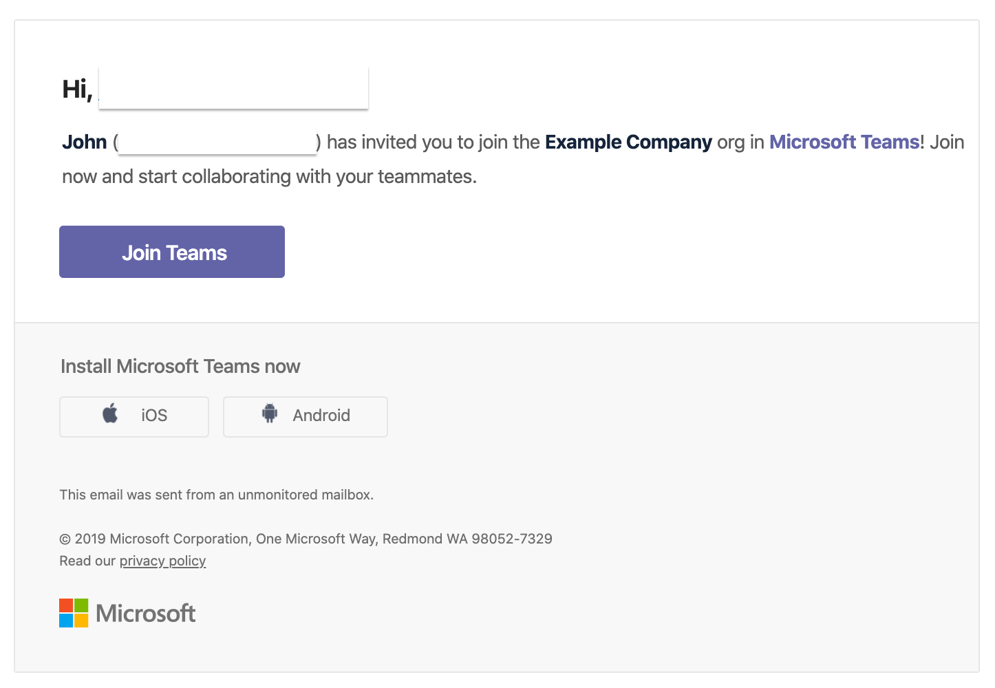 Microsoft teams set up