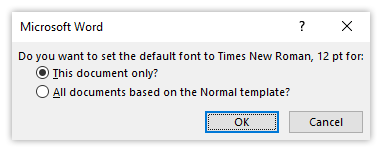 set default font for this document only option
