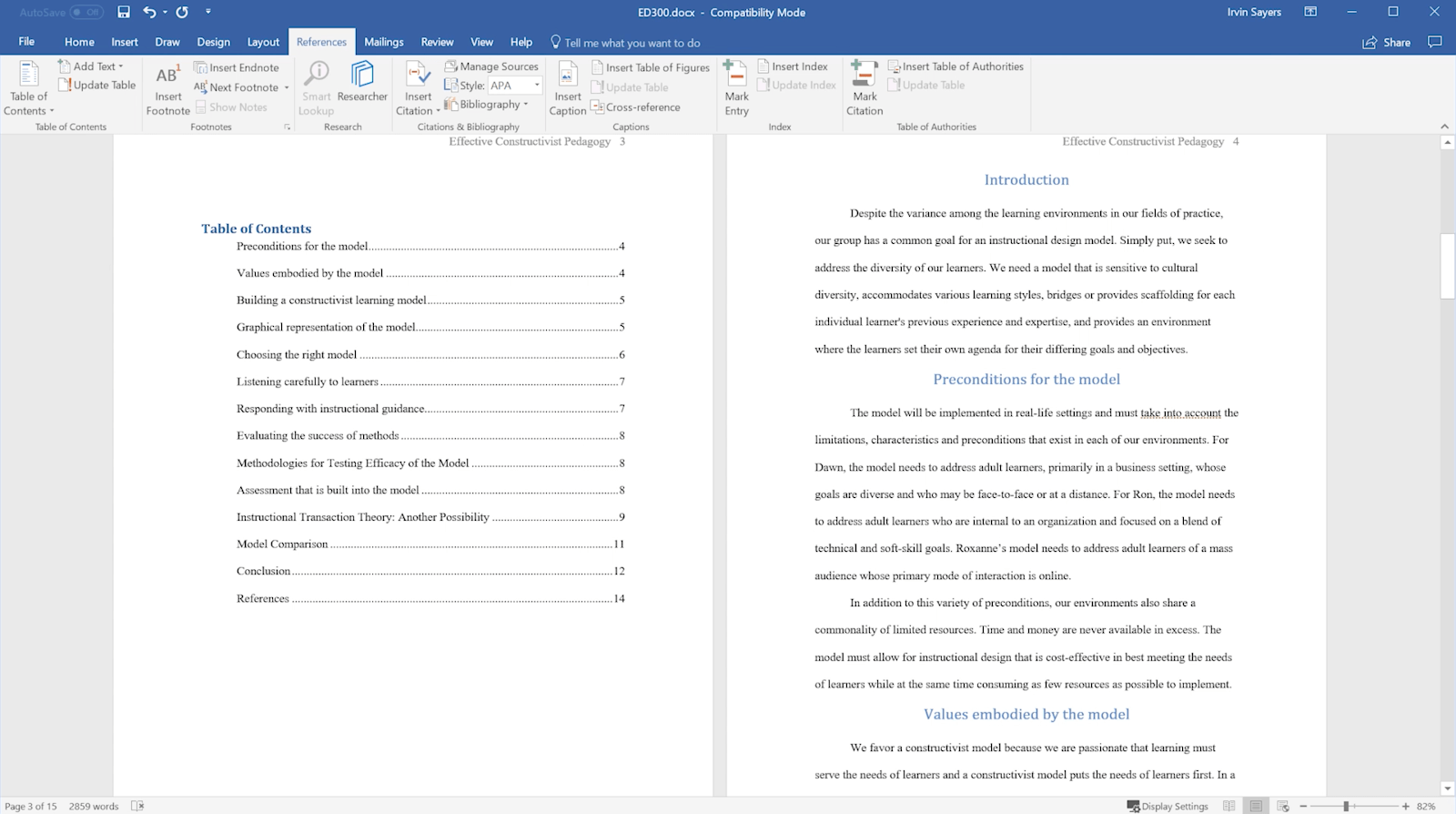 insert table of content in word