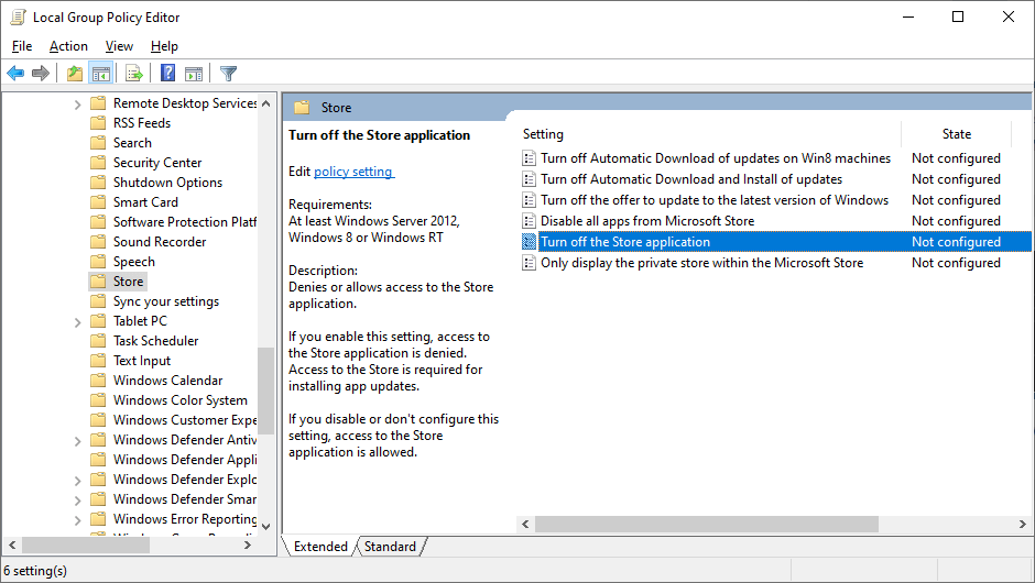 turn off store applications