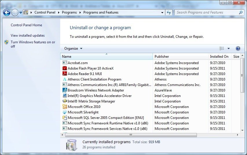 uninstall via programs and features