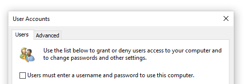 username and password change