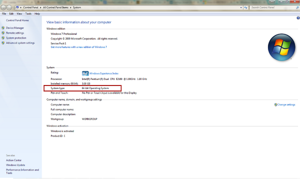 Windows 7 system type