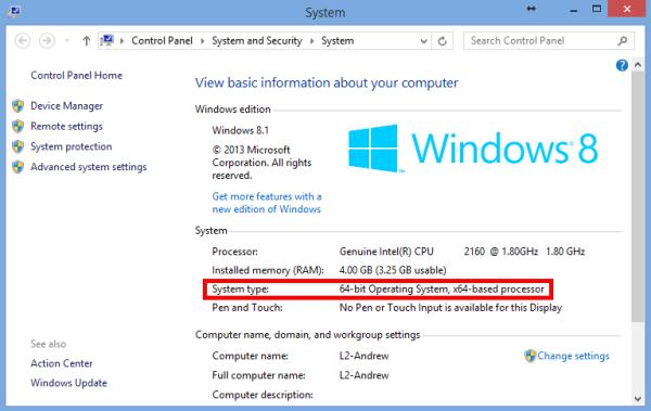 Windows 8.1 System property