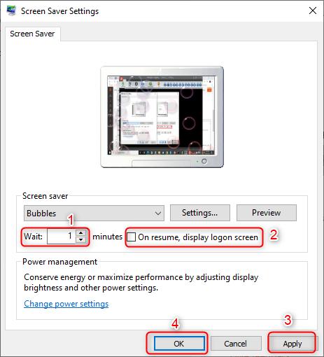 screen saver logon