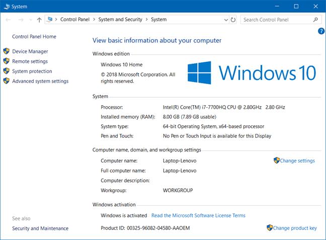 control panel on Windows 10