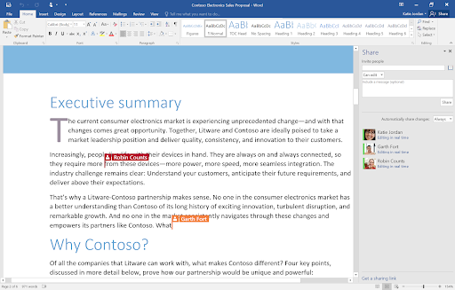 Collaboration in word