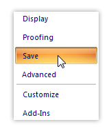 Save option in excel